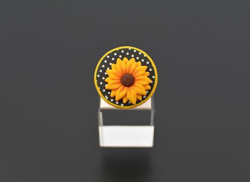 ročno izdelan unikatni prstan sončnica - Unika Nakit