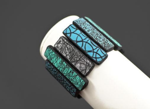 ročno izdelana unikatna zapestnica modra zelena turkiz - unikanakit.si