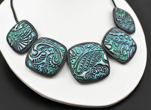 elegantna unikatna povezana verižica turkiz srebrna - unika nakit