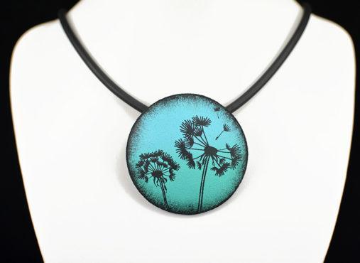 Ročno izdelana unikatna verižica modro zelena regratova lučka - Unika Nakit
