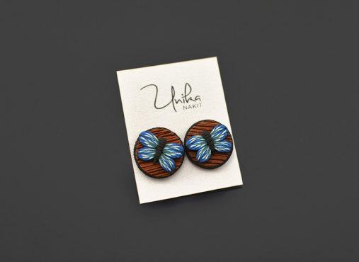 unikatni-mali-uhani-leseni-videz-modro-zeleni metulj - Unika Nakit