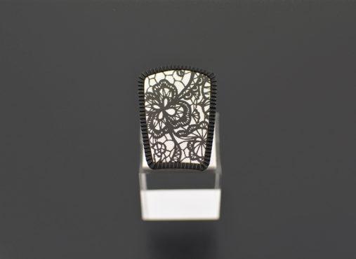ročno izdelan prstan pearl črni - Unika Nakit