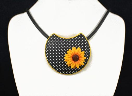 Ročno izdelan unikatni nakit ogrlica sončnica verižica - Unika Nakit