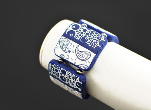 unikatna poletna zapestnica modra bela - Unika Nakit