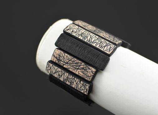 modna unikatna zapestnica črna bež - Unika Nakit