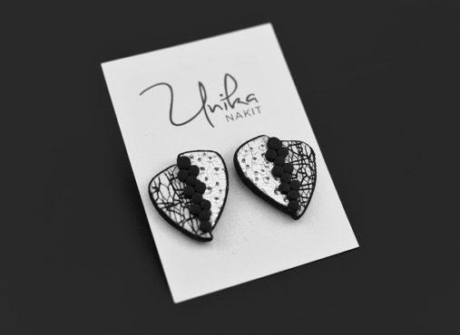 unikatni črno beli srebrni uhani - Unika Nakit